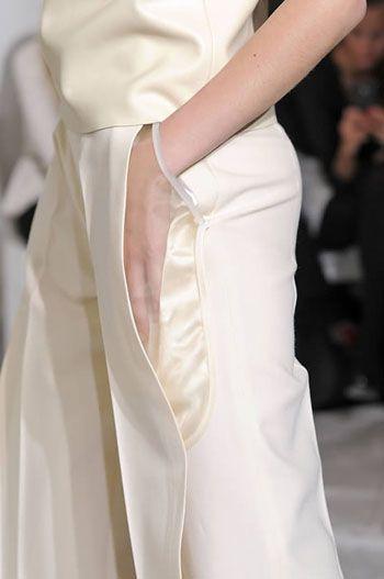 Transparent Pocket detail - chic white tailoring; sheer fashion details // Maison Martin Margiela
