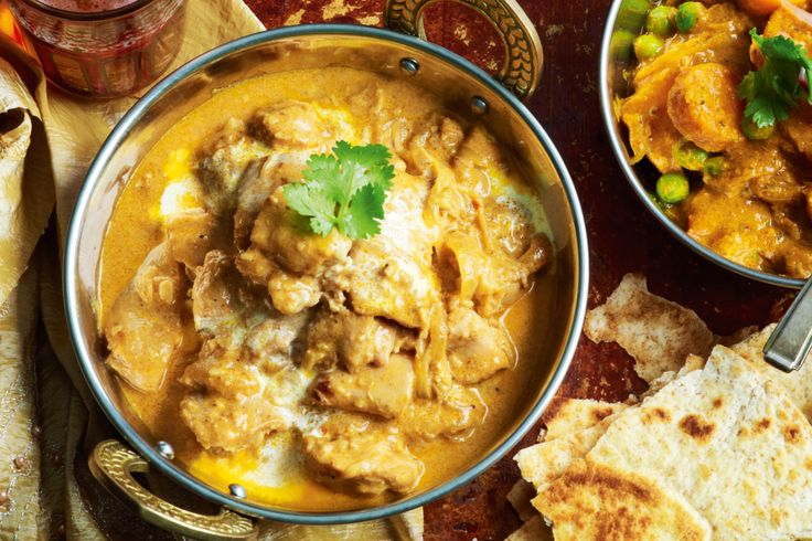 Indian. Chicken korma.  A mix of spices, yoghurt and butter give this chicken curry its mouth-watering creaminess.
