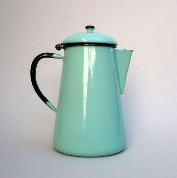 Blue Enamel Coffee Pot Turquoise Enamel Coffee Pot