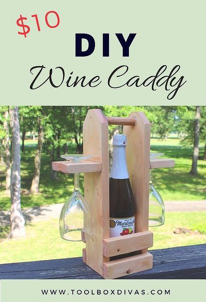 wine caddy with glass holder, diy, homesteading, outdoor living, shelving ideas, woodworking projects