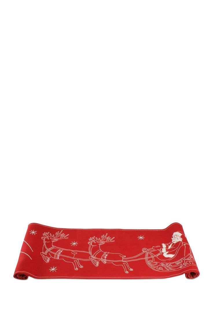 Santa's Flight Red Felt Runner