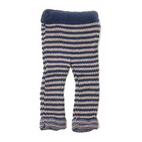 2014AW toto knits Border Leggings THIN Navy×Elephant litrois color - 北欧をメインに国内外の子供服や雑貨をご紹介する通販サイトです。| litrois(リトロワ)