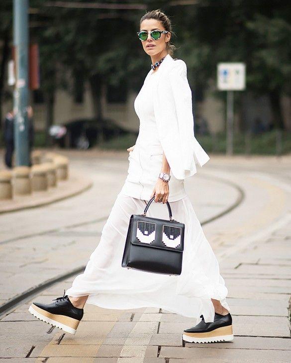 Stella McCartney platform oxfords give an all-white attire extra flair.