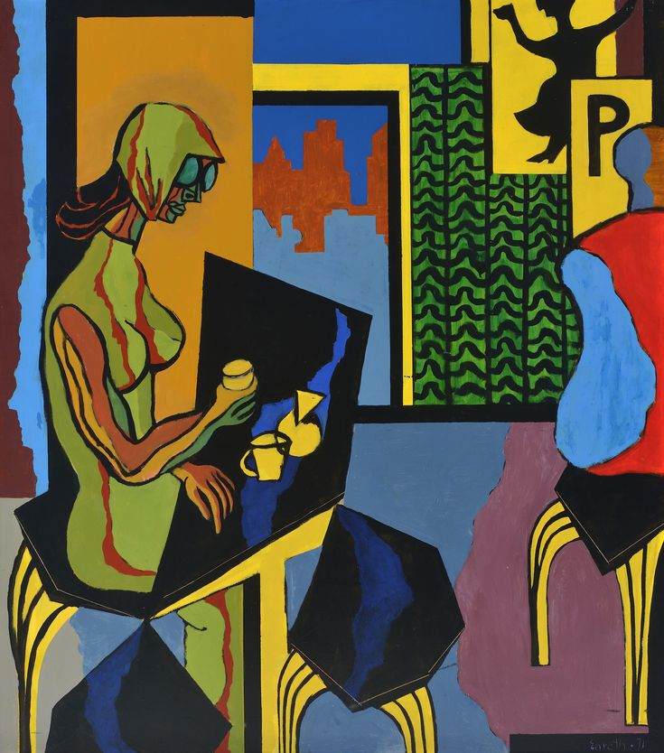 ERIK ENROTH, CAFÉ COLOMBIA (1971)  The year 2017 marks the centenary of Finland's independency as well as 100th anniversary of artist Erik Enroth (1917–1975). Three paintings by Enroth have been included in the Gösta Serlachius Fine Arts Foundation's collection: Still-life with Chicken and Fish (1953), A Fruit Market in Spain (1955) and Cafe Colombia, which represents the artist's late output.  Born in Helsinki, Enroth relocated to Tampere after having been married to Sara Hildén in 1949.