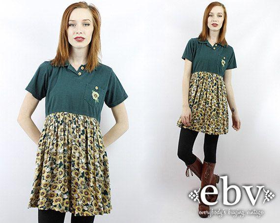 #Vintage #90s #Grunge #Sunflower #Maternity Mini #Dress S M by #shopEBV http://etsy.me/1aXFmT3 via @Etsy #etsy #preggo #style #fashion , $48.00