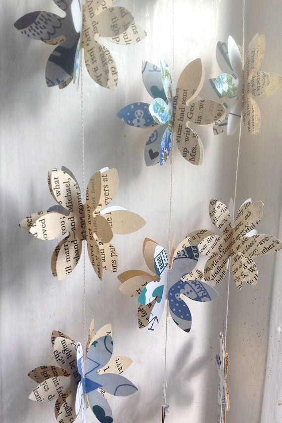 Flora Vintage Book and Art Paper 3D Paper Garland by MaisyandAlice, $22.00