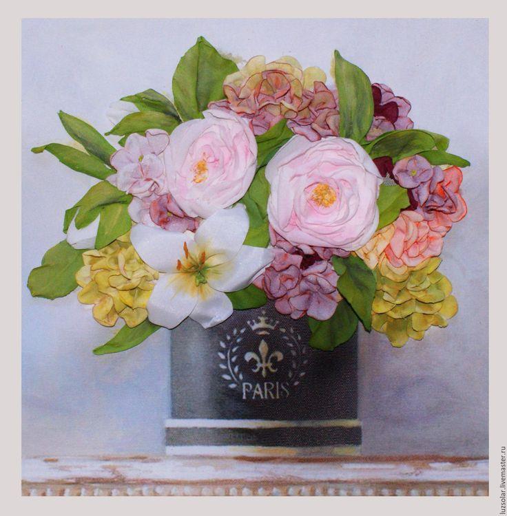 Купить Картина вышитая лентами Букет с лилией - комбинированный, лилия, букет из ткани, букет из шелка