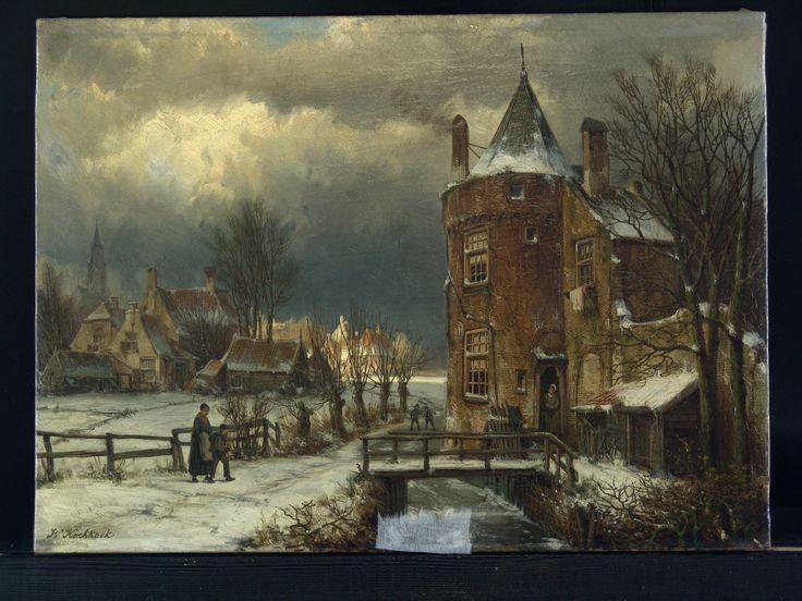 Koekkoek - Winterlandschap - voor behandeling - Restauratieatelier Haarlem