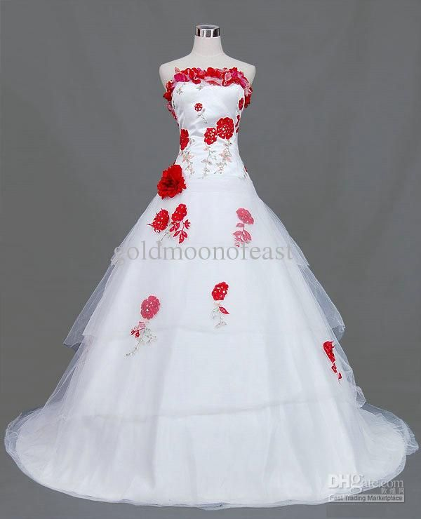Vintage White Red Rose Flowers A Line Wedding Dresses Gown Strapless Tulle Sweep Train Lace