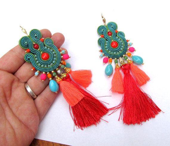 Long Colorful Earrings Dangle Drop Earrings by GiSoutacheJewelry