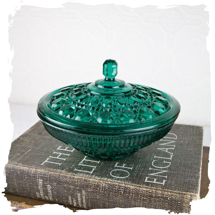 Vintage Pressed Glass Candy Dish Aqua Glass Candy Dish.