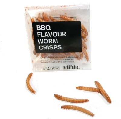 BBQ Flavour worm crisps.... interesting, lol