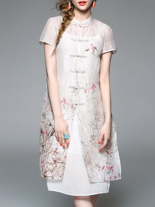 Apricot H-line Short Sleeve Shirt Dress