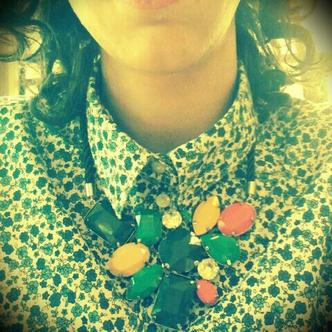 Spring with Benetton shirt and handmade necklace!