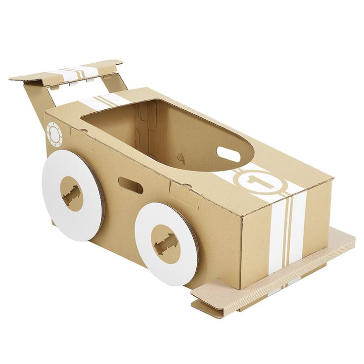 A strong cardboard racing car for kids to create and decorate. Hop in and hold on. Ready, steady...GO!