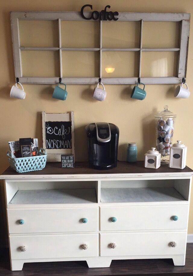 DIY coffee bar made from dresser