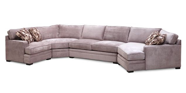 Glenwood Sectionals spacious 4 Piece Set. Left Facing Chair, Armless Loveseat, Wedge, and Right Facing Cuddler.