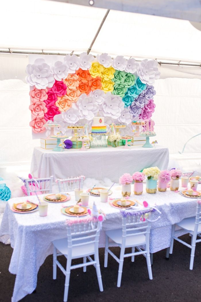 Party tables from a Magical Unicorn Birthday Party on Kara's Party Ideas | KarasPartyIdeas.com (9)