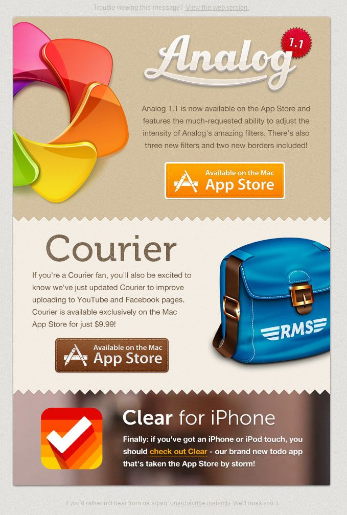 Email from Realmac software promoting Analog, Courier and Clear apps.