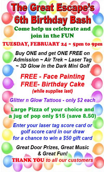 We are having a 6th Birthday Bash at The Great Escape in #Langley BC - drop in for the fun!
