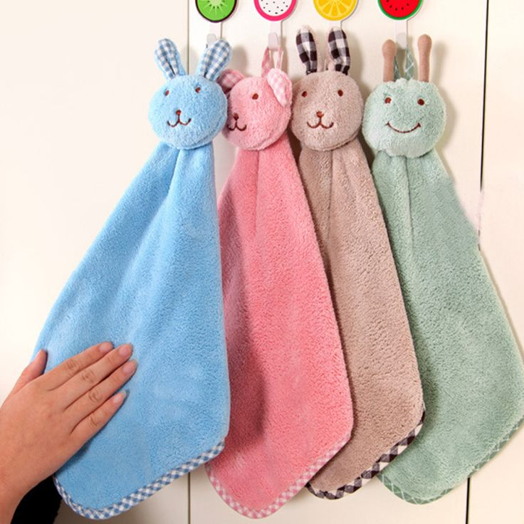 Cute Cartoon Rabbit Hanging Coral Velvet Towel Dishcloth Bowl Cloth Water Hair Oil Washing Cloth kitchen hand towel 4