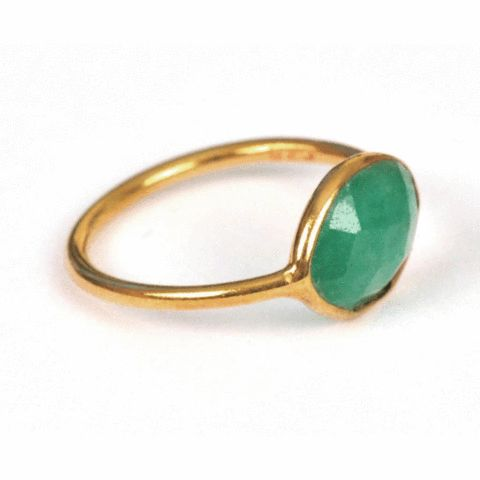 SysterP Nugget Ring Gold Indian Emerald - Nordic Grace Accessories