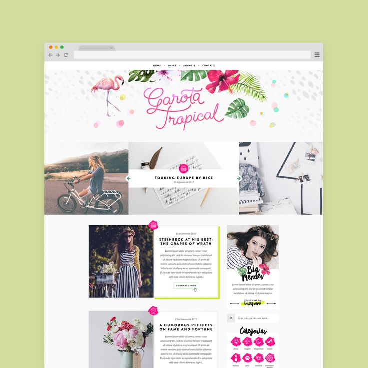 Layout responsivo desenvolvido na plataforma WordPress com criação de mídia kit, assinatura de e-mail e capa para fanpage. O blog Garota Tropical fala sobre moda, beleza, viagem, marketing, dentre outros assuntos estritos por Beatriz Forny.