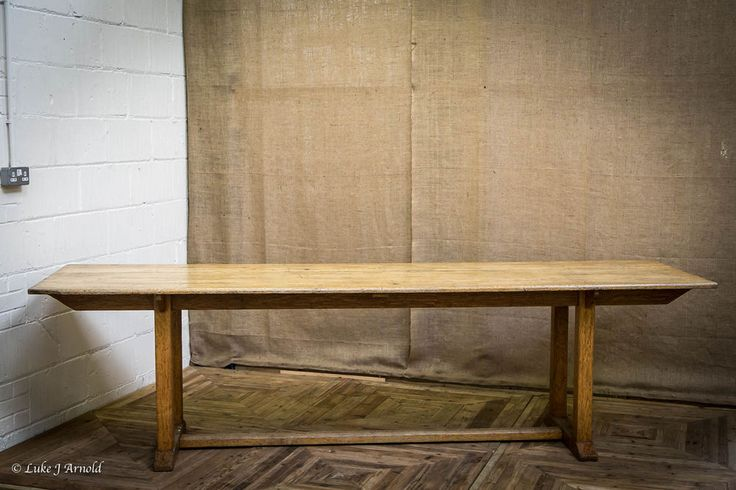 A wonderful golden oak refectory table made in the art and crafts style. The five plank top table was removed from a boys school and as expected has all the signs of wear and graffiti. - Height 76cm.   eBay!