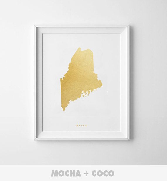 Maine Gold Map Print US State PosterState Map by MochaAndCoco