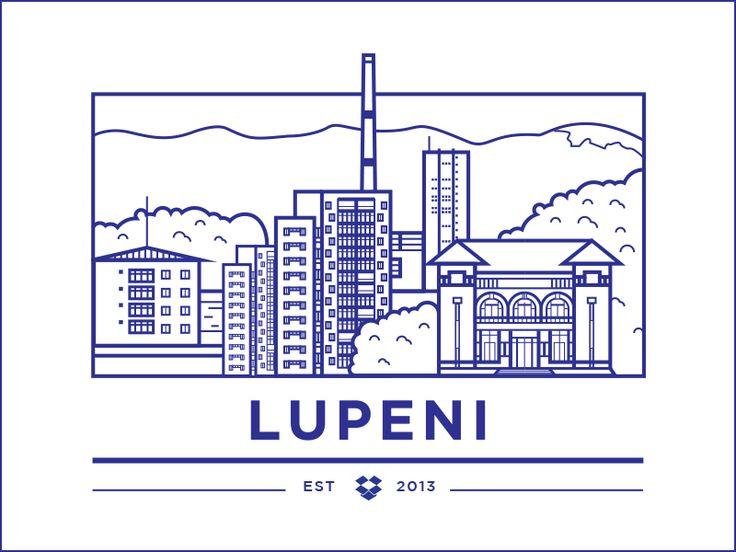 Lupeni, Hunedoara - Romania, illustration inspired by