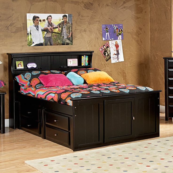 Have to have it. Chelsea Home Bookcase Full Bed with Storage - Black Cherry - $1239 @hayneedle