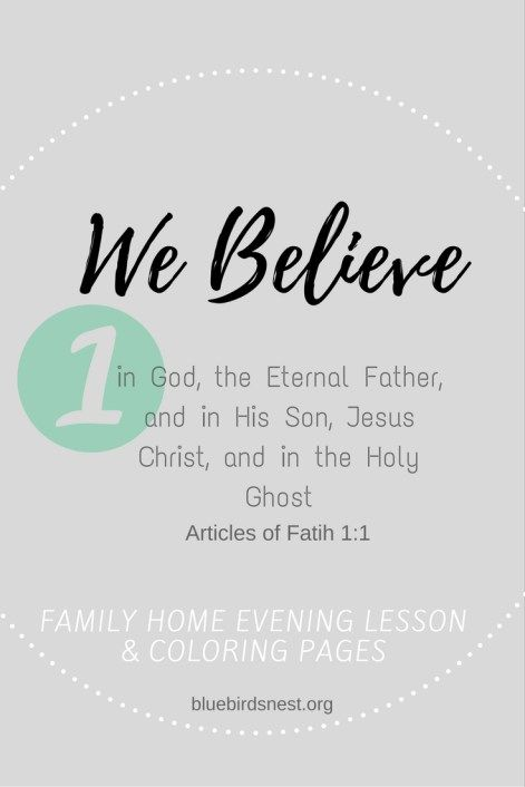 The Best Family Home Evening Lesson The First Article Of Faith Lesson Plan