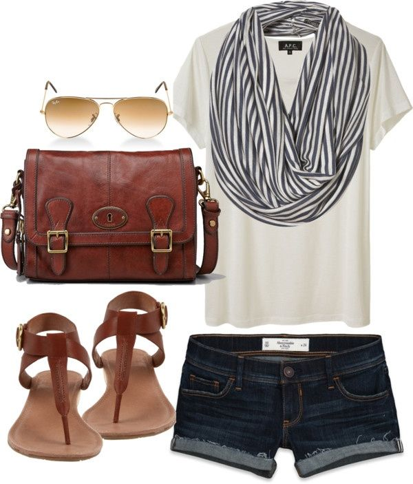 Blue denim shorts, white t-shirt, blue and white striped scarf, brown sandals and messenger bag