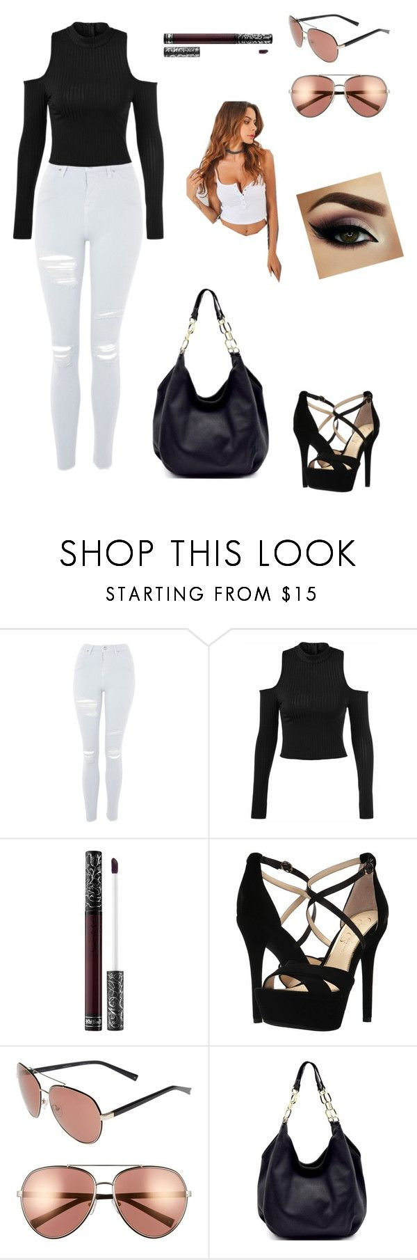 """Sans titre #66"" by thelottie-a ❤ liked on Polyvore featuring Topshop, Kat Von D, Jessica Simpson and Kendall + Kylie"