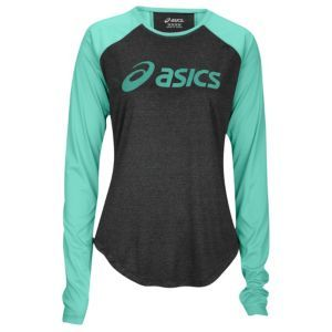 ASICS® Runner's Wordmark L/S T-Shirt - Women's - Running - Clothing - Spearmint/Black Heather. I also need t shirts for the gym.