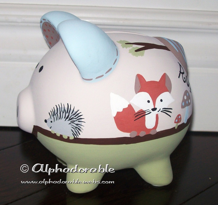 """Custom, hand painted ceramic personalized piggy bank Forest Friends by Carter's design small 5"""". $37.00, via Etsy."""