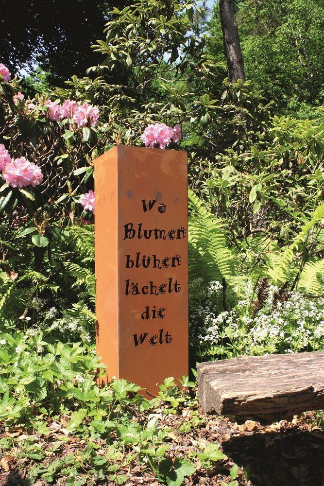 Edelrost Säule Stele Eisen Blech Garten Rost Patina Metall Deko Aussendeko