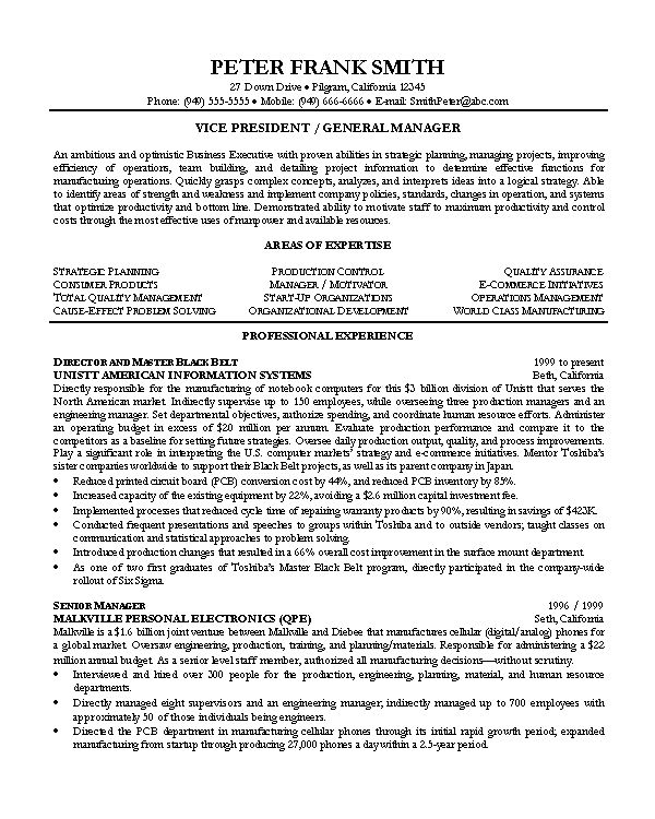 General Manager Resume Example - http://www.resumecareer.info ...
