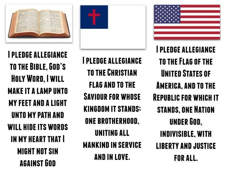 Printable VBS Pledges - Christian Flag, American Flag, Bible Pledge