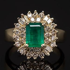 Natural Emerald & Diamond Ring w/ Halo in 14K Gold     More here: http://mylusciouslife.com/bling-fling-engagement-ring-pictures/