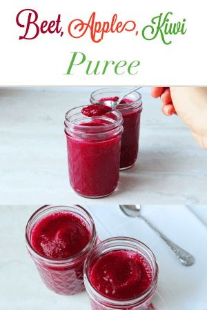 Tasty and nutritious homemade baby puree. Make this Beet, Apple, Kiwi Puree for your baby. Full of essential vitamins and minerals. Homemade baby food is super easy to make and your baby is sure to love it!