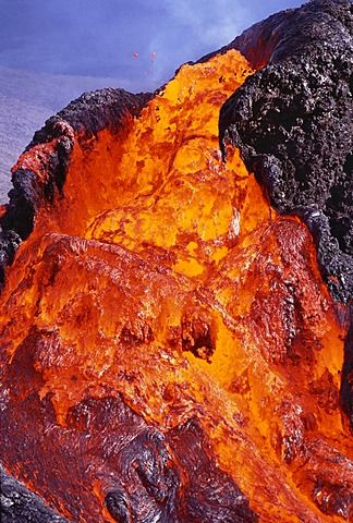 Erupting lava, Hawaii Volcanoes National Park, Hawaii