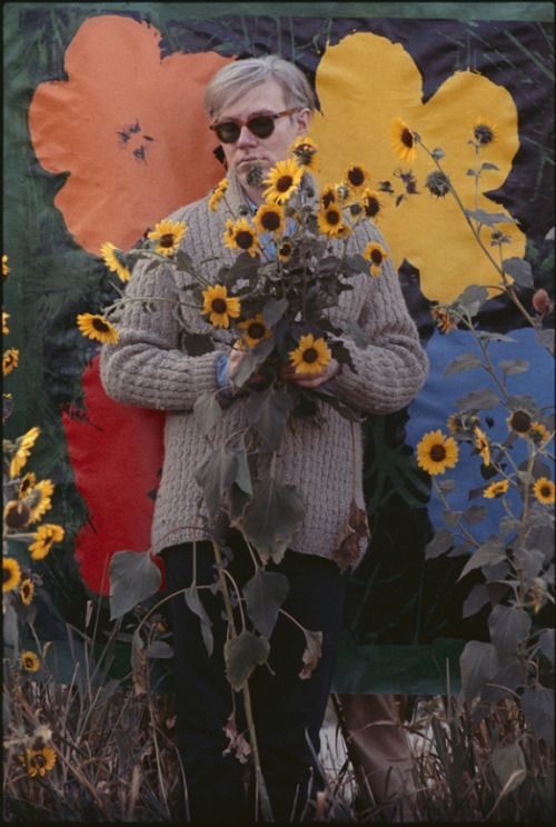 zzzze:    John William Kennedy, Andy Warhol in a Field of black - eyed Susans, 1964
