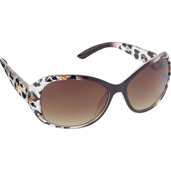 Circus by Sam Edelman Sunglasses Oval Animal Print Sunglasses ($36) ❤ liked on Polyvore featuring bags, brown, eyewear, fashion accessories, white bags, animal print bags and brown bag