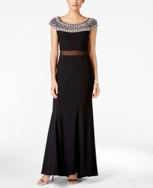 Xscape Embellished Illusion A-Line Gown - Black 2