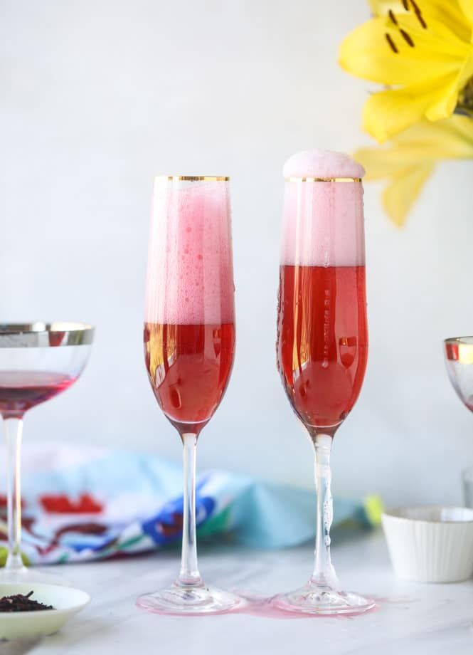 Rose Hibiscus Mimosas Recipe Cocktail Recipes Strawberry Banana Milkshake Fun Cocktails
