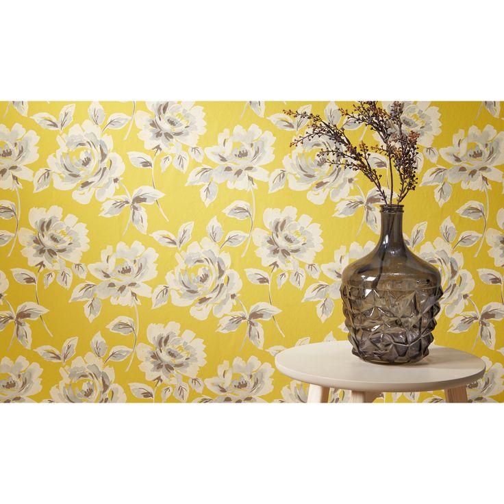 Bloemen staan niet alleen mooi in een vaas, maar fleuren ook je muur op! > Behang Linn #bloemen #vaas #behang #wonen #interieur #decoratie #kwantum