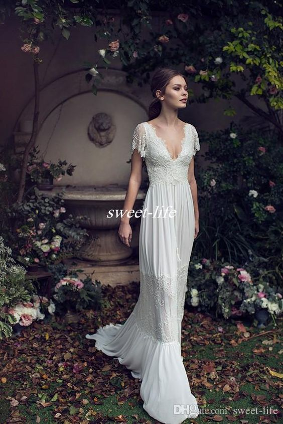Vintage Sheath Wedding Dresses Lihi Hod Lace Bohemian Deep V neck Backless Boho Bridal Gowns 2019 Floor Length Short Sleeves Custom