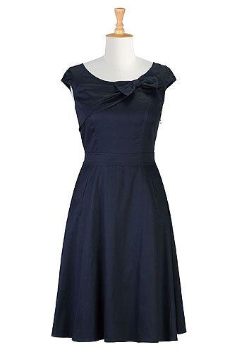 Bow-tied stretch cotton satin dress