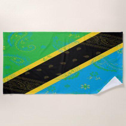 Tanzania Flag Beach Towel - trendy gifts cool gift ideas customize